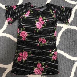 2T short-sleeve flower dress black,white,pink